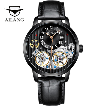 Top luxury brand expensive men's watch automatic mechanical quality watch Roman double tourbillon Swiss watch leather male 2020 5