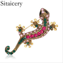 Sitaicery Colorful Enamel Lizard Brooches For Women Man Rhinestone Vintage Animal Jewelry Creative Coat Suit Accessories Brooch