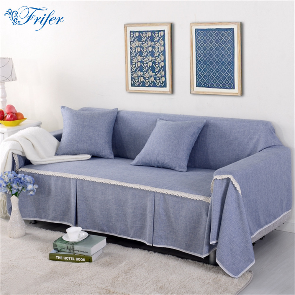 Slipcover Furniture Living Room: Single/Two/Three Seater Solid Sofa Cover Cotton Slip