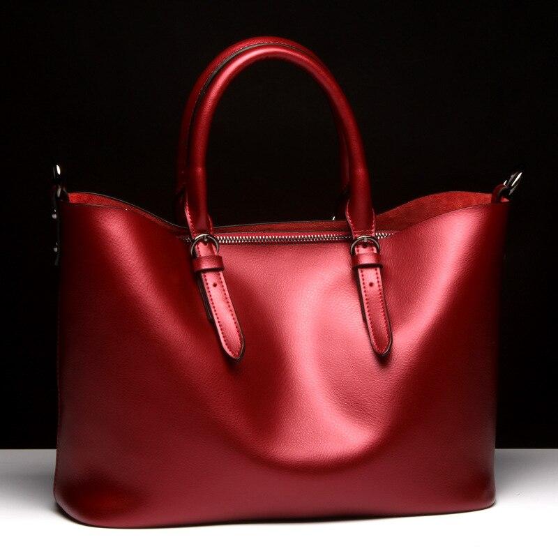 Fashion Luxury Woman Genuine font b Leather b font font b Handbag b font Large Cowhide