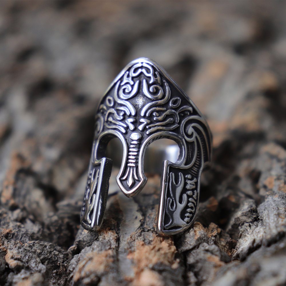 Man Viking Warrior Helmet Ring Scandinavian Pagan Norse Rune Stainless Steel Rings Totem Amulet Jewelry