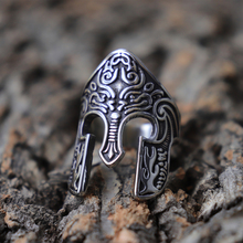 Man Viking Warrior Helmet Ring Scandinavian Pagan Norse Rune Stainless Steel Rings Totem Amulet Jewelry