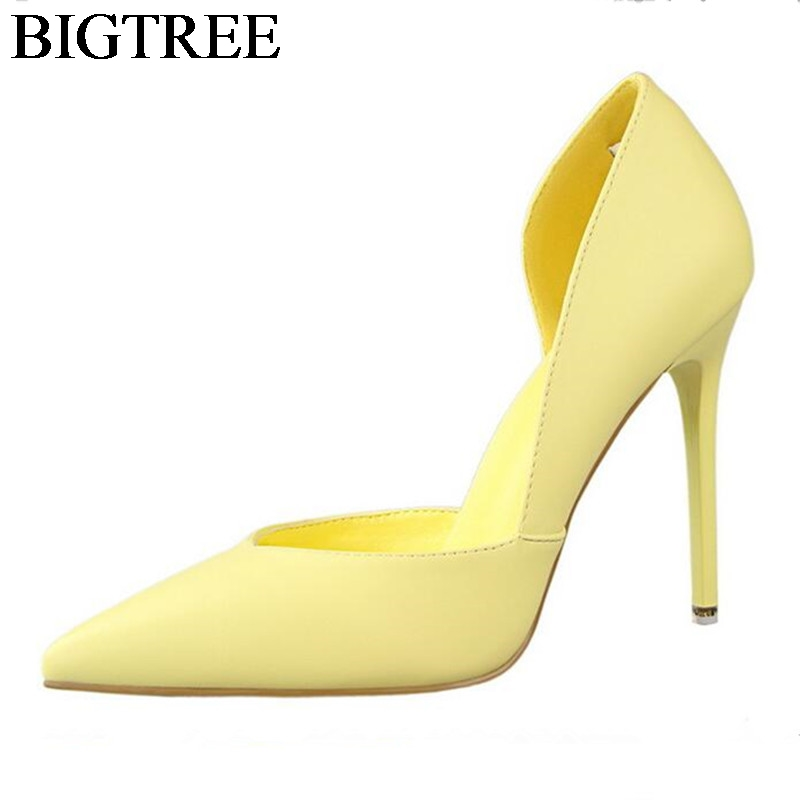 BIGTREE PU Leather 10.5CM Point Toe Shoes Women Heels Sexy High Thin Heel Stiletto Party Shoes Elegant Ladies Pumps 6 Colors dropshipping best selling genuine leather super high heel 12cm platform 3 cm evening shoes sexy point toe high heels r243