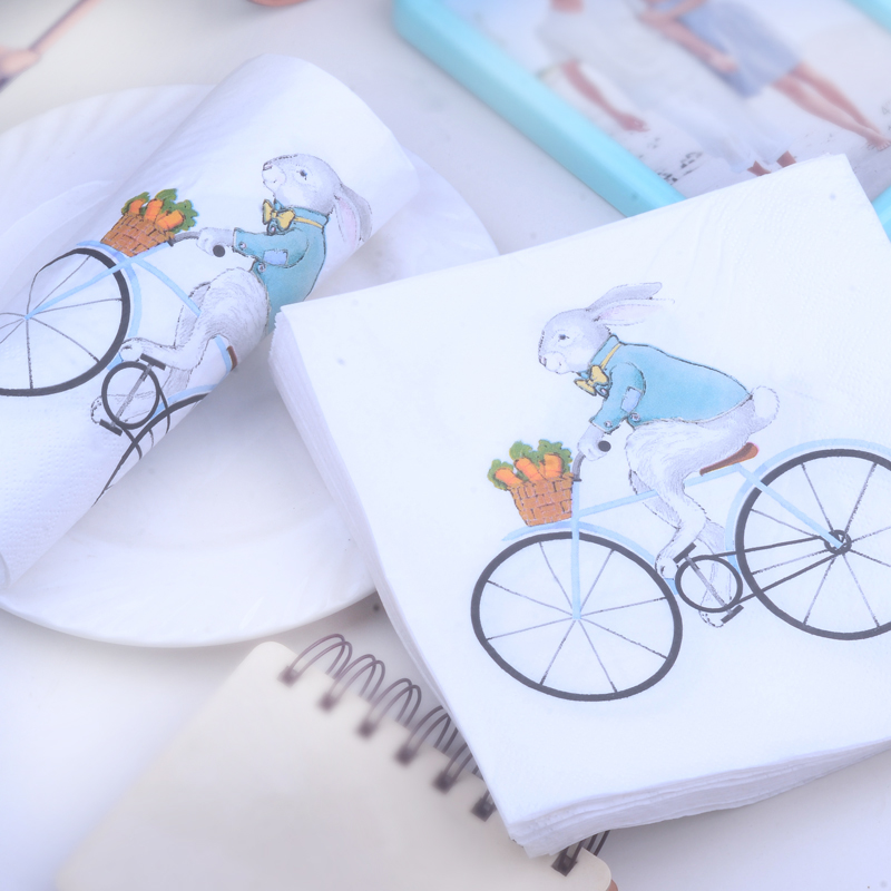 10pcs Lovely Bicycle rabbit food-grate Printed napkin paper servilletas decoupage decorated Virgin Wood Tissue 33*33cm