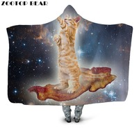 Star Flight Cat Hooded Blanket Office Quilts Sofa Fashion Bedding Overcoat Adults Wearable Animal 3D Print Travel Airplane Coats
