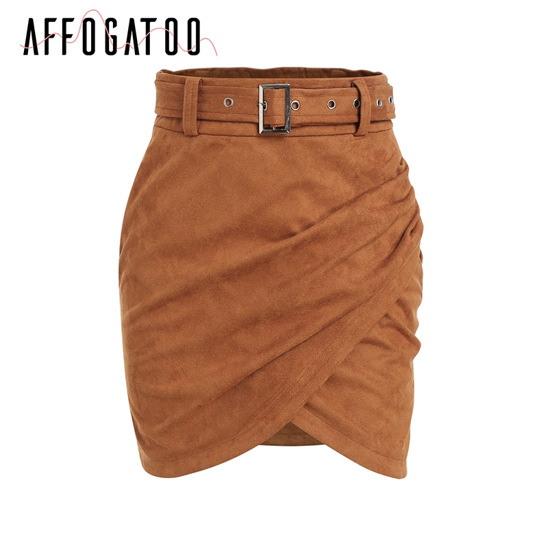 Affogatoo High waist suede leather skirts 18 Autumn winter belt ruched bodycon skirt Women asymmetric short skirts female 11