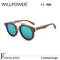 China Mode Ontwerp Zonnebril multi-color Dubbele Metalen Lente Scharnier houten zonnebril