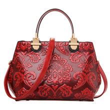 Women Fashion Embossed Rose Handbags Casual Tote Hand Bag Shoulder Messenger Bags Female Bolsas Feminina N289