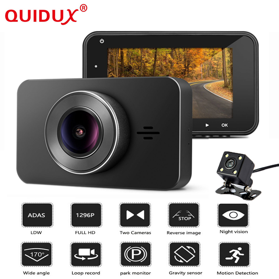 QUIDUX 3.0 Inch Car DVR 1296P Dual lens Car Camera Video Registrator Recorder Night Vision dashcam with Reversing Camera