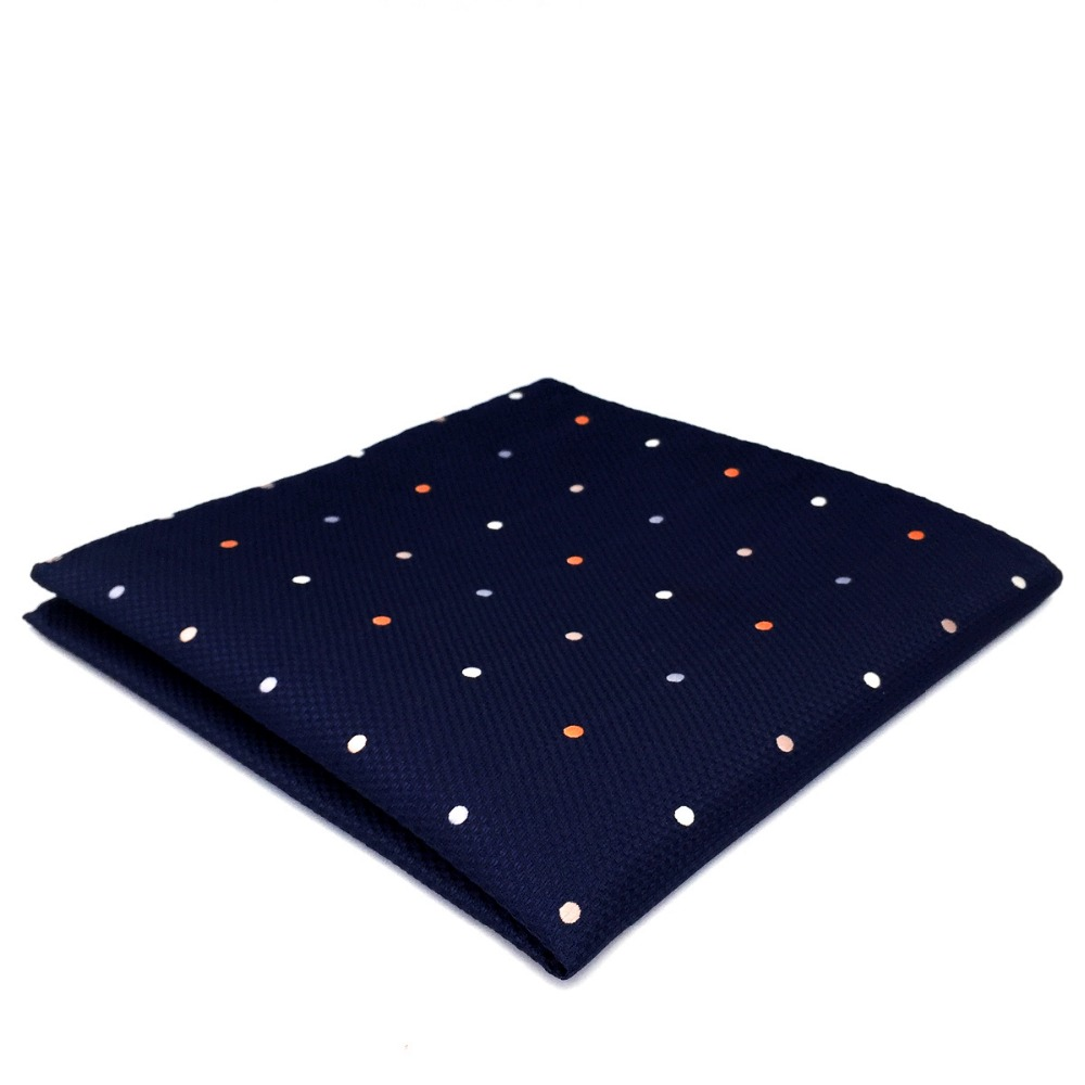 DH12 Navy Polka Dots Mens Pocket Square Silk Classic Handkerchief Business For Suit