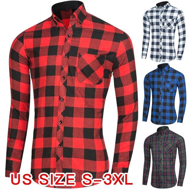 e22df6088 Novos Homens de Moda Casual Camisa Xadrez Fino Camisa de Manga Longa  Flanela camisas camisa masculina