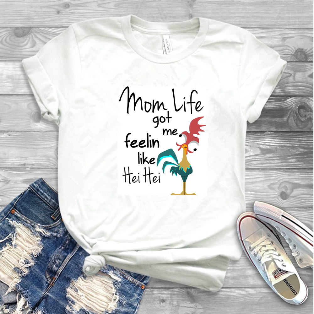 Mom Life Got Me Feeling Like HEI HEI Letter Print T Shirt Women Casual Graphic O-Neck Short Sleeve Fall Tops Tee