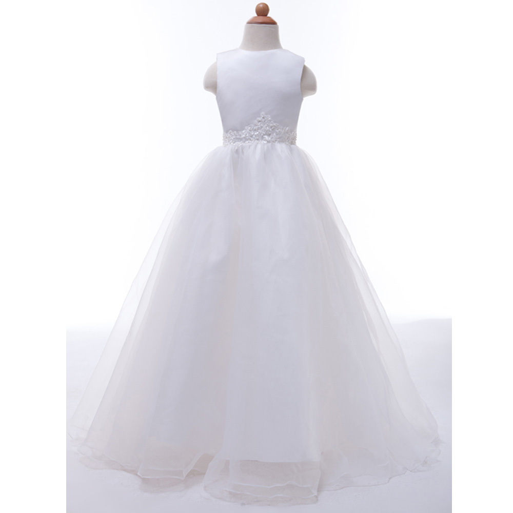 Long White Flower Girl Dresses for Weddings Pageant Party Ball Gown Birthday First Communion Dresses for Girls Evening Gown 4491