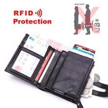 2019 New PU Leather Men Aluminum Wallet Pocket ID Card holder RFID Blocking Mini Magic Wallet Automatic Credit Card Coin Purse цена