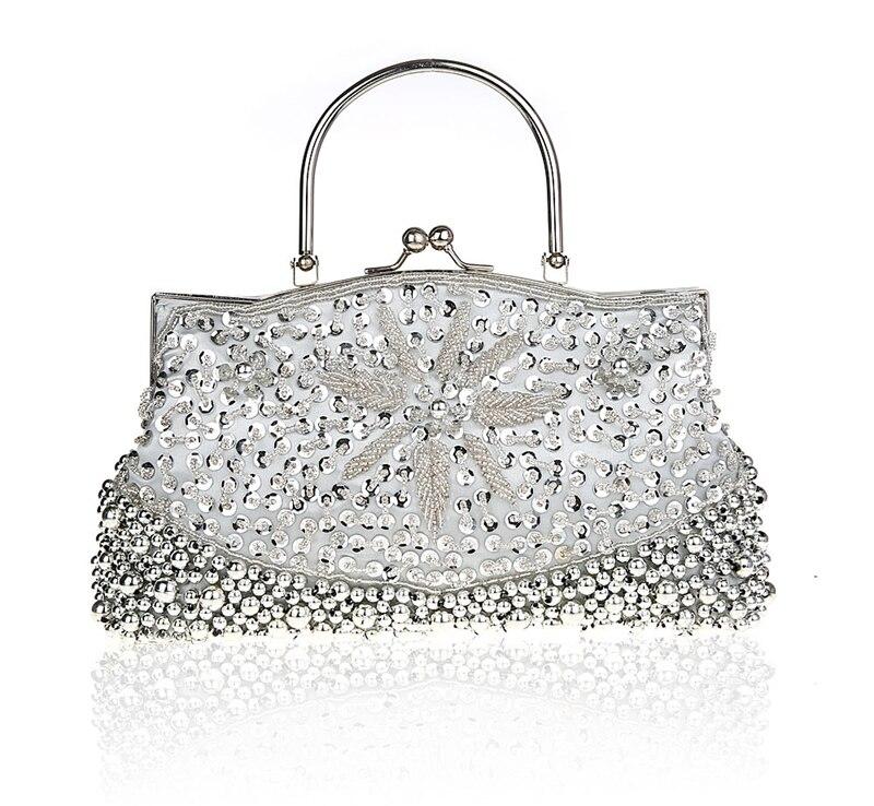 a608386f22e9 Серебряный китайский Для женщин бисером блестками сумочка клатч банкетные  Свадебные вечерняя сумочка; BS010 Кошелек Макияж