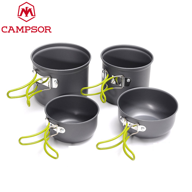 ce33c1742 Outdoor Portable Cookware Cooking Set Anodised Aluminum Non stick Pot Bowl  Camping Cooking pans Picnic Hiking Utensils Cutlery-in Outdoor Tablewares  from ...