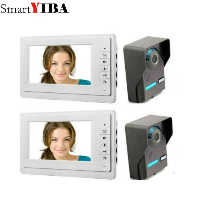 SmartYIBA 7 дюймов видео домофона дверной звонок Системы Водонепроницаемый дверца Управление кольцо видео звонок 2V2 ...