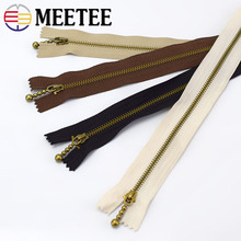 Meetee 10pcs 3# 15/20/30/40CM Metal Bronze Zipper Closed-end Copper Material Clothing Luggage Sewing Handmade Accessories AP567