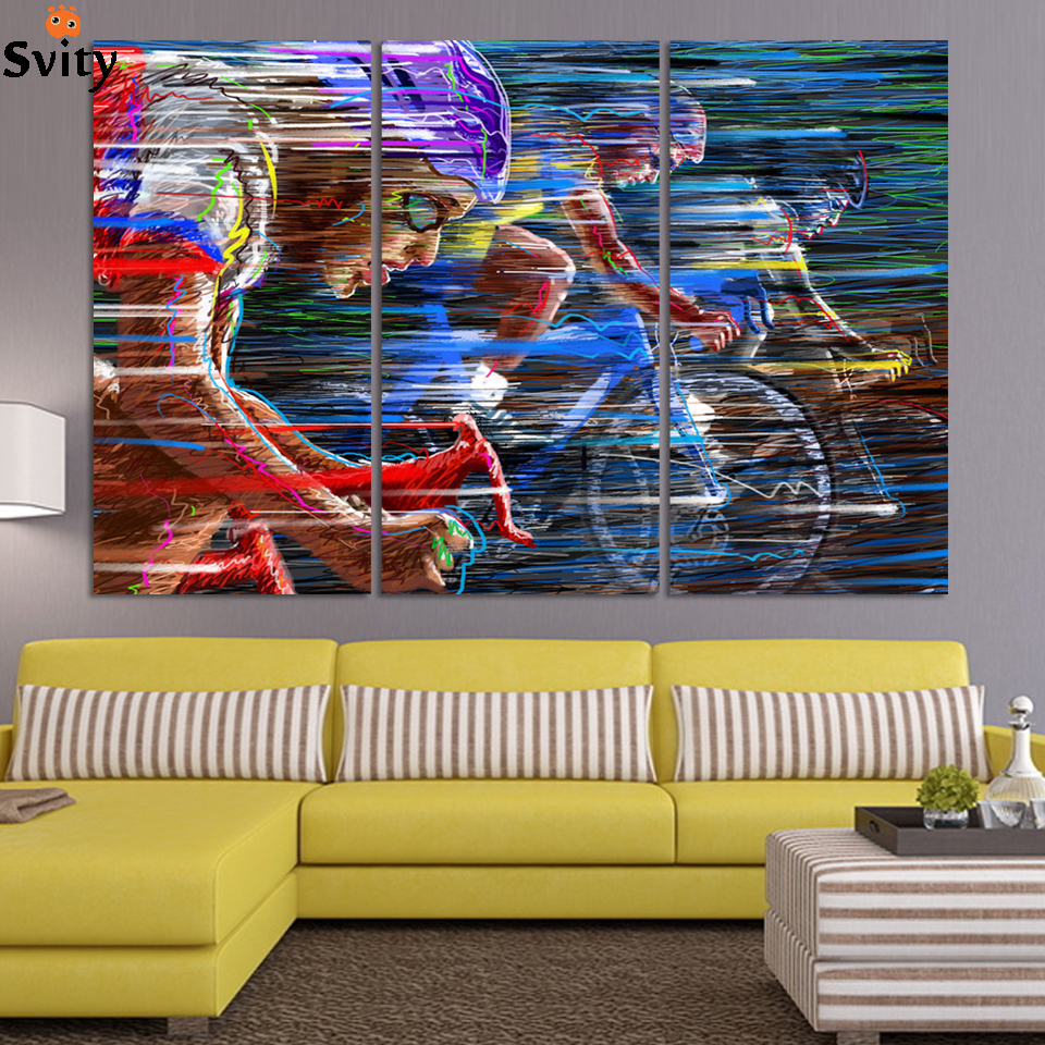 Bicycle Sport Race Multicolor Abstract Characters Canvas