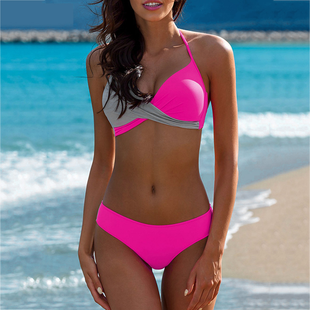 HTB135kMV7voK1RjSZFwq6AiCFXal 7 Colors Womens Padded Push-up Bra Tankini Bikini Set 2019 Swimsuit Low Waist Bathing Suit Swimwear Two Pieces Halter Beachwear