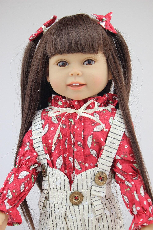 18'' 45CM   Brown Long hair Beauty Girl DOLLS handmade american Reborn  dolls full Vinyl newborn baby doll girls gift