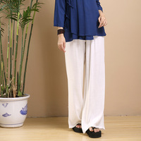 2016 Women Pants White Cotton Linen Trousers Loose Wide Leg Pants Summer Bottoms Elastic Waist Pantaloni