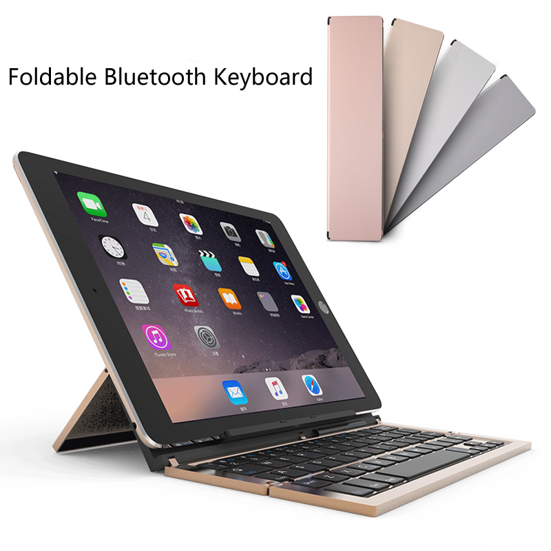 Clavier de poche Bluetooth pliable Multiple 3, clavier en aluminium Ultra-mince Portable pour iOS/Android/Windows PC/tablette/Smartphone