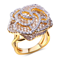 Flower Ring gold plated w/ Cubic zircon luxury big Rings fashion jewelry Free shipment Full ring size #6, #7, #8, #9, #10