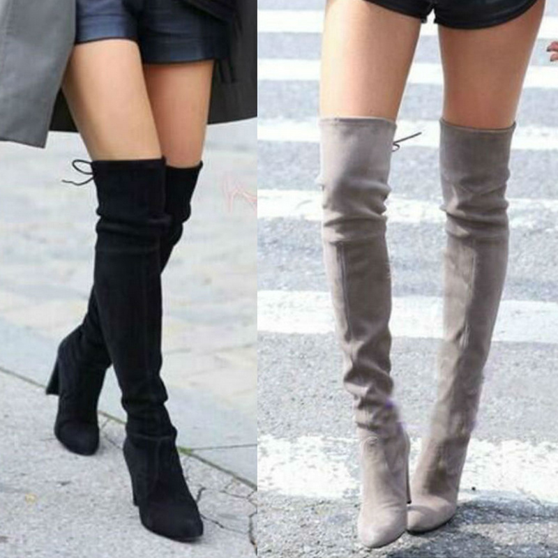 Large size 2018 new fashion women Over the knee high boots thick high heels shoes platform thigh high autumn winter suede boots new bottes femmes 2015 calzado mujer autumn winter knee high boots suede womens chunky thick heels sexy fashion winter boots