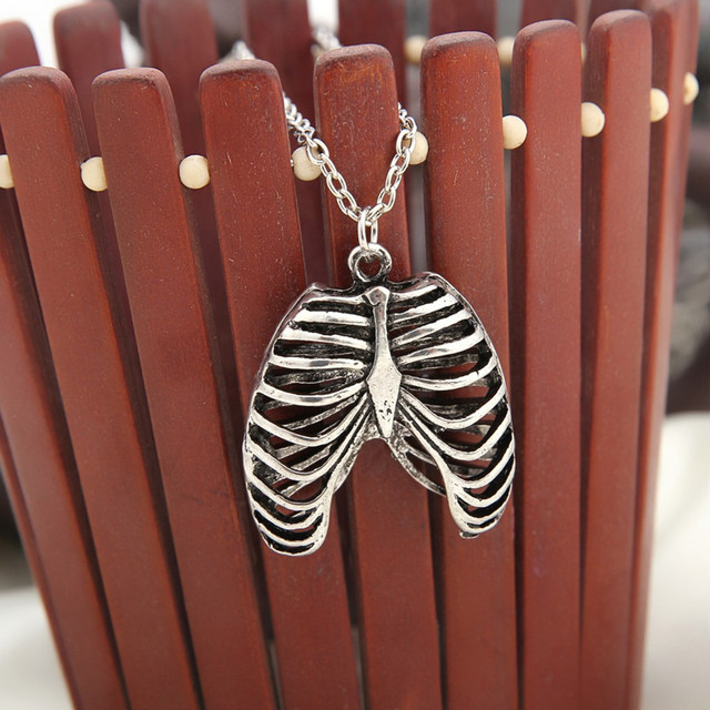 Hot Movie Harry Anatomical Human Ribcage Necklaces Man Chest Bones