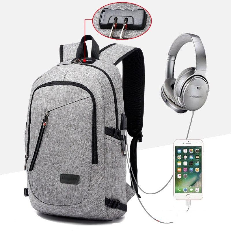 Date externe USB téléphone charge Lisen à musique Interface ordinateur portable tablette sac à dos Anti-vol conception pochette d'ordinateur pour 15.6