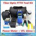 FTTH Cold Splice Fiber Optic Tool Kit FC-6S Fiber Cleaver Optical Power Meter 10km Visual Fault Locator Wire stripper