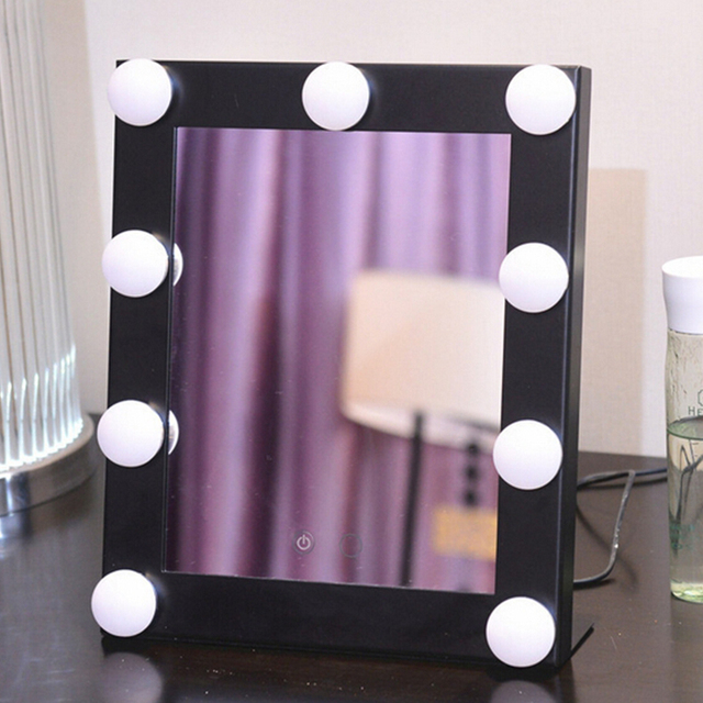 Square Vanity Mirror Makeup Cosmetic Folding Portable Compact Pocket  with LED Lights Health Beauty