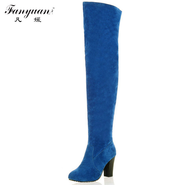 2016 Novo Desconto Rodada Toe Sólidos Over The Knee High Mulheres Botas Sapatos Da Moda Senhoras Salto Médio Botas de Outono