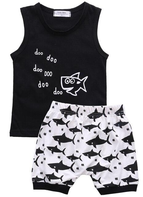 אופנה בני תינוק בן יומו כריש חולצות מכתב קיץ תלבושות סט בגדי מכנסיים קצרים חולצה ללא שרוולים 2 יחידות