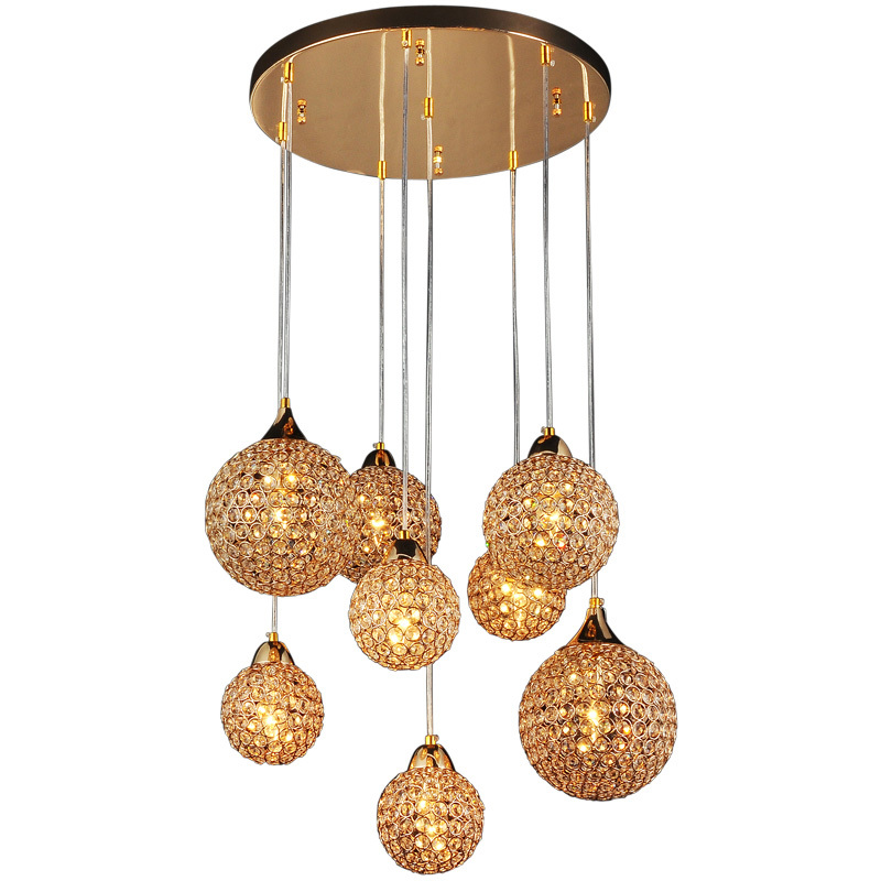 22 Wide Round Golden Luxury Crystal Parlor Pendant Lights 8 Pcs Balls Hanging Living
