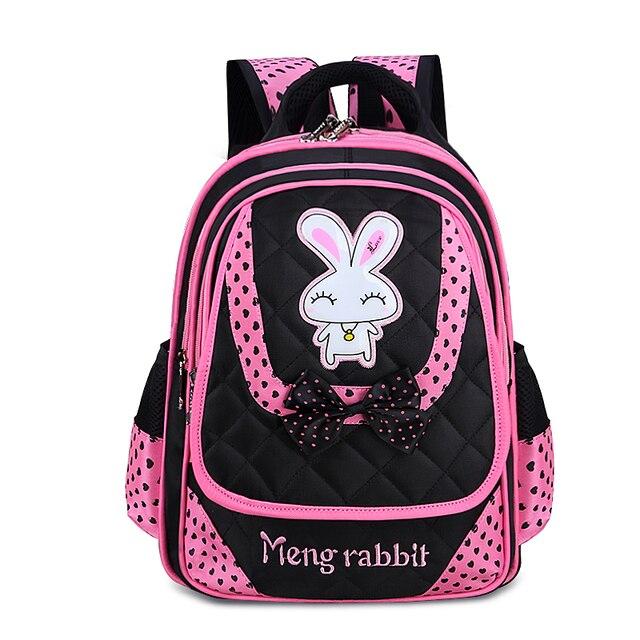 2017 High Quality Girls Cartoon Rabbit School Bags Orthopedic Backpacks Mochila Escolar Primary School Portfolio Kids Book Bag