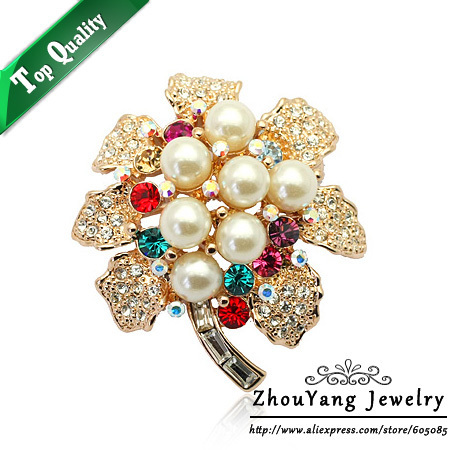 ZHOUYANG ZYX012 Imitation Pearl  Rose Gold Color Brooches Jewelry Austrian Crystal Wholesale