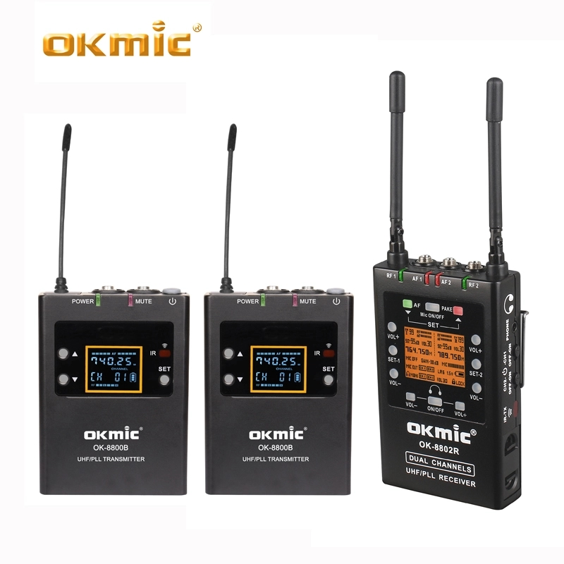 Dual-Channel UHF Wireless Microphone System For Canon Nikon Sony Panasonic DSLR Camera &Camcorder OK-8802R+8800B