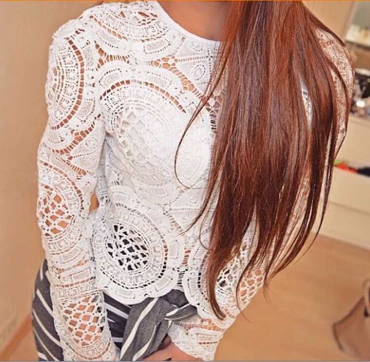 White Lace Crochet Women Tops 2017 New Summer Style Hallow Out Women