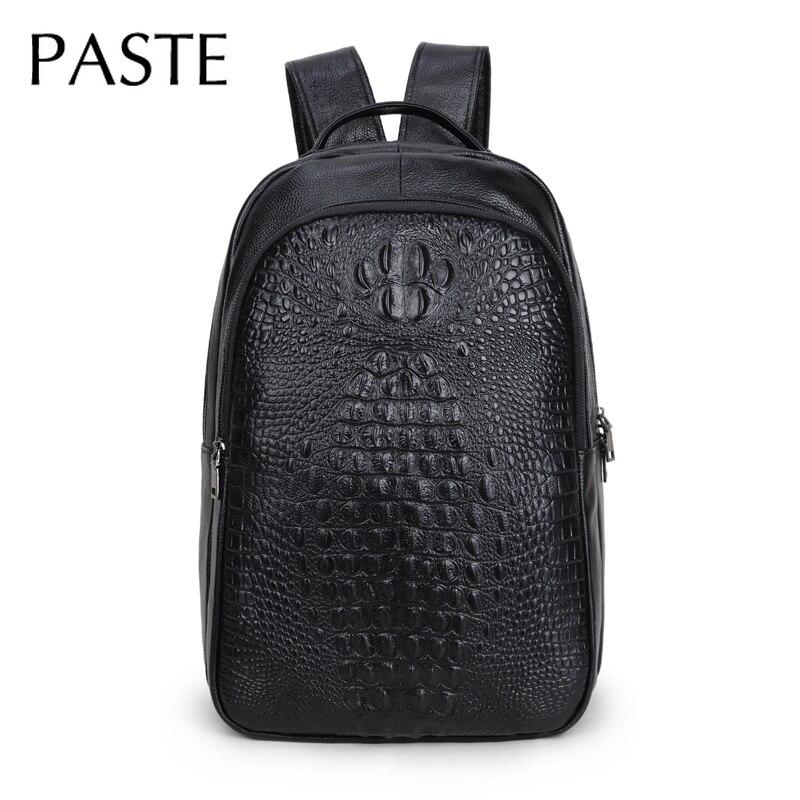 Chic männer Kuh Leder Rucksack Präge Krokodil Muster Luxus Exquisite Laptop Schule Tasche Aus Echtem Leder Männlichen Bagpack-in Rucksäcke aus Gepäck & Taschen bei  Gruppe 1