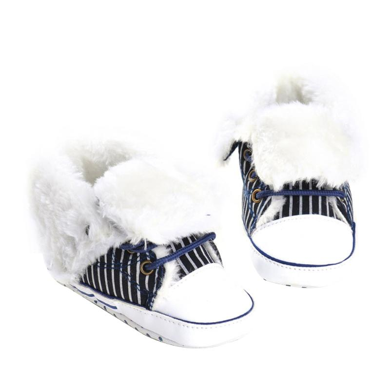 Newborn Baby Shoes Infant Soft Sole Non-slip Crib Shoes Baby Boys Girls Canvas Winter Warm First Walkers