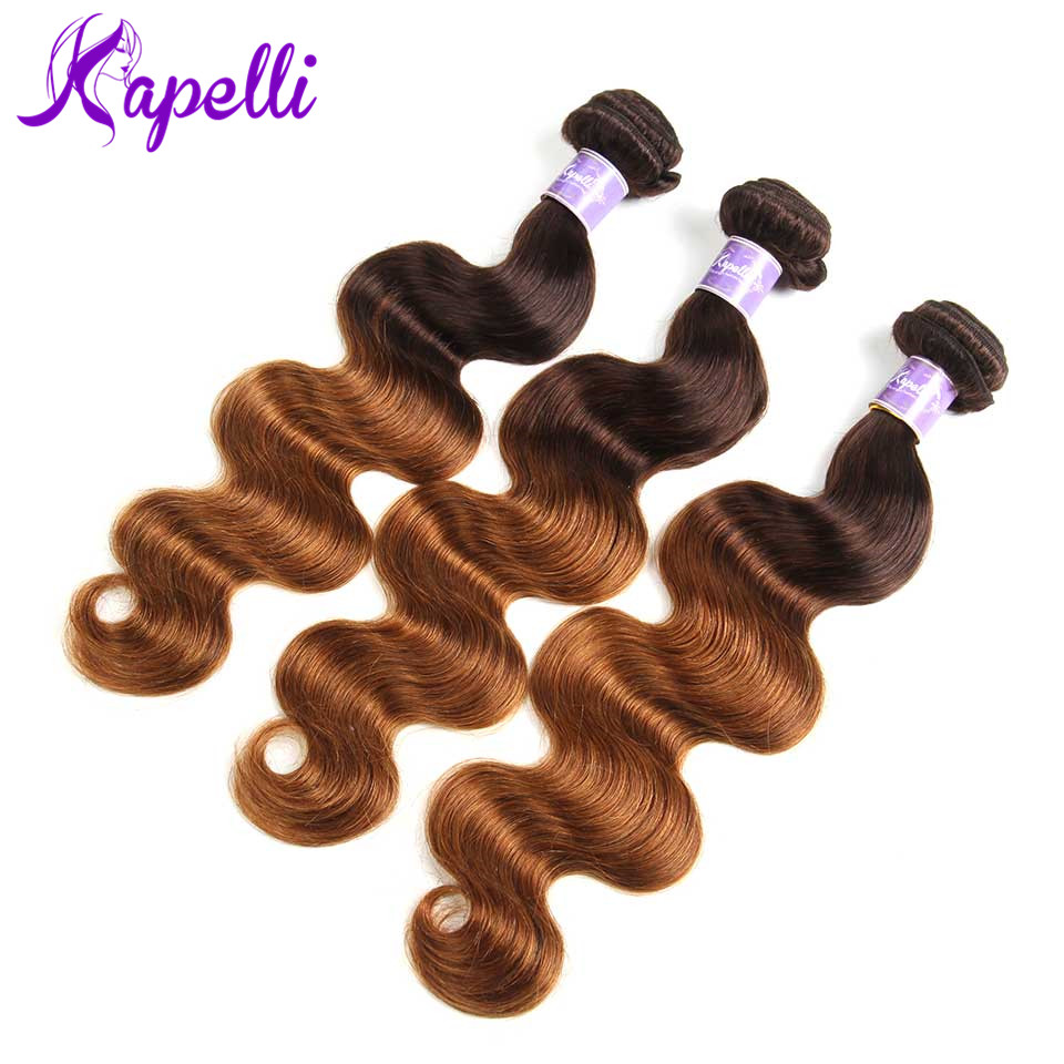 Pre-Colored Brazilian Body Wave Hair Bundles With Closure #1b427Ombre Human Hair with 44Lace Closure Non-remy Hair