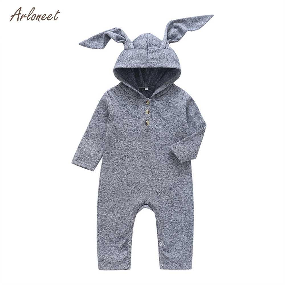ARLONEET 2018 зима хлопок комбинезон для младенцев теплые для новорожденных с длинными рукавами с капюшоном с «заячьими ушками» Обувь с плюшевой подкладкой Одежда для новорожденных