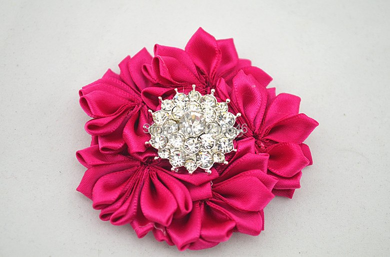 Free Shipping NEW Rhinestone Silk Flower Hairpin DIY Layered Satin