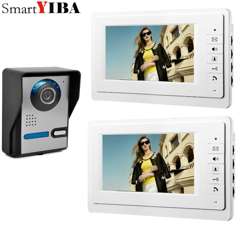 SmartYIBA Home Wired Cheap 7 inch LCD Color Video Door Phone DoorBell Intercom System IR Night vision Camera FREE SHIPPING home 7 inch color lcd video door phone intercom system with night vision doorbell camera 4m cable free shipping