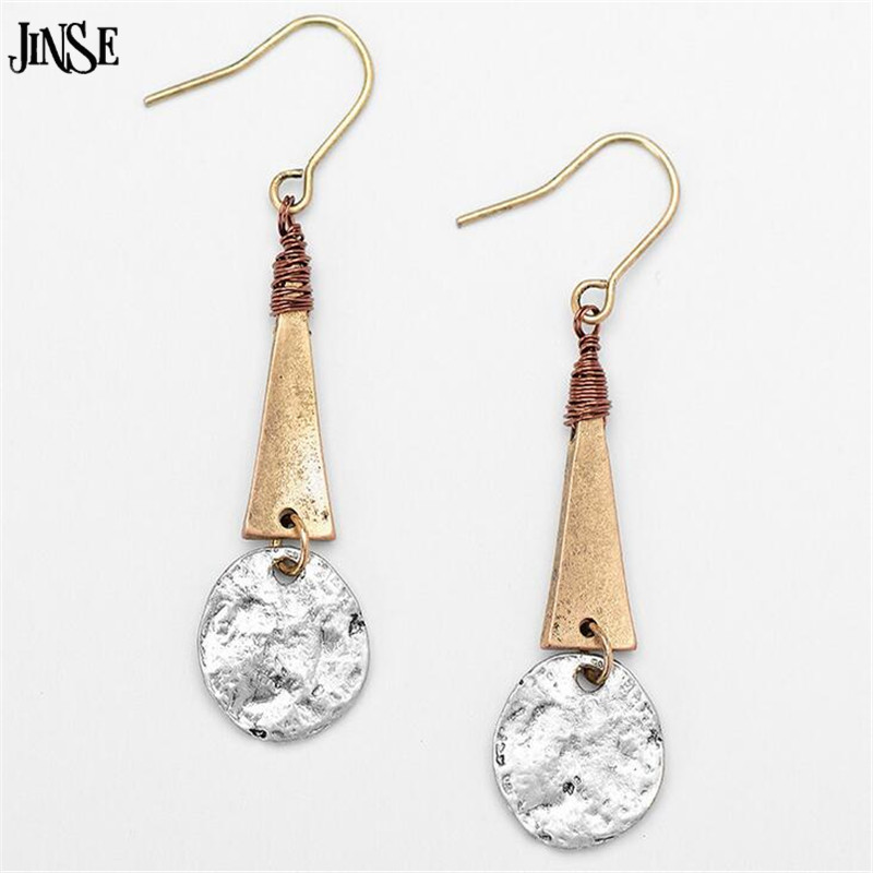 JINSE European Creative Zinc Alloy Triangle Dangle Earrings Vintage ...