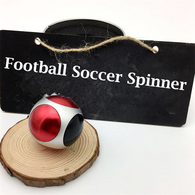 1PC Football Soccer Spinner Gyro Toys Hand Spinner Metal Finger Stress Spinning Tops Spinner-hand Toys with Iron Organizer Box