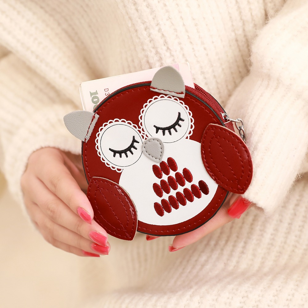 Womens Coin wallets and purses Female Money bags Girls Round Zipper Lovely Owl Purse Cards ID Bag lady Good Quality Mini Wallets