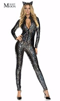 MOONIGHT Leopard Jumpsuit Halloween Cosplay Cat Woman Costume Sexy Woman Catsuit Catsuits Sexy Bodysuits
